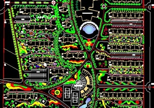 某方形地块小区绿化规划设计CAD图-居住区住宅区园林景观设计方案