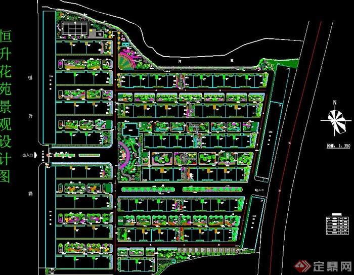 某住宅小区花园绿化规划设计cad图图片