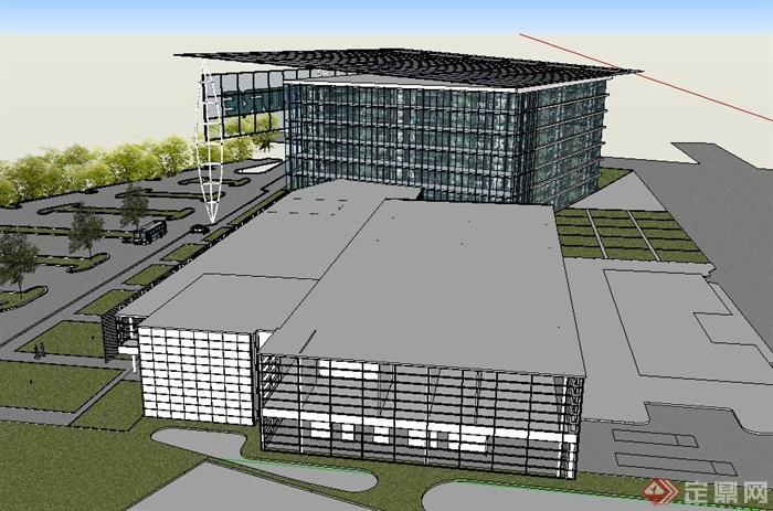 现代某多层创意办公楼建筑设计su草图大师模型(3)