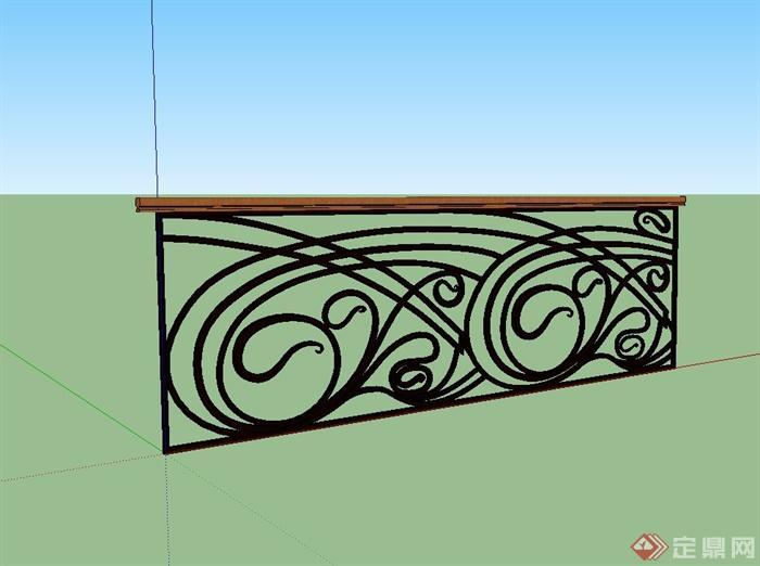 欧式铁艺护栏栏杆设计su模型(1)