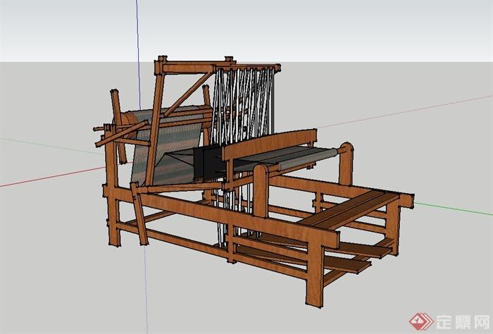 织布机视频_织布机设计su模型