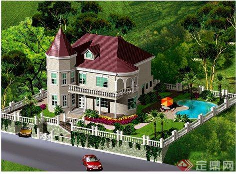 乡村两层欧式自建别墅建筑设计cad图与jpg效果图
