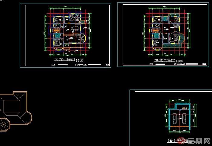 乡村两层欧式自建别墅建筑设计cad图与jpg效果图[原创]