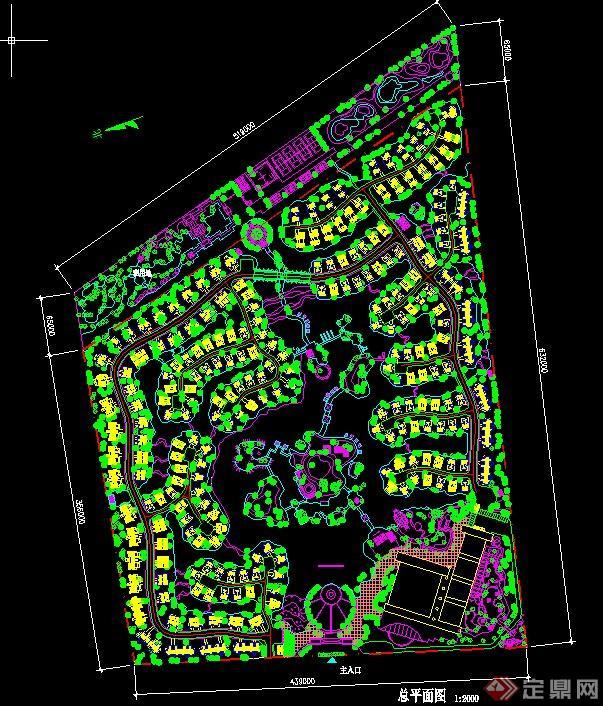某梯形地块住宅小区绿化规划设计cad图[原创]