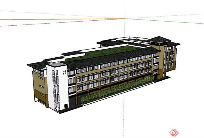 某欧式工业厂房建筑设计su模型[原创]