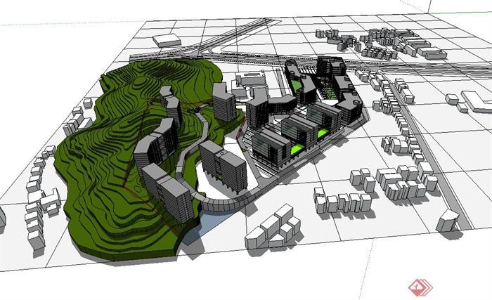 某现代工业区厂房建筑设计su模型[原创]