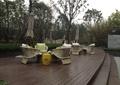 木平台,躺椅家具,木板铺装,遮阳伞