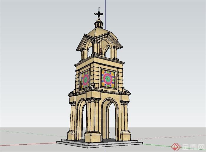 欧式风格钟塔楼设计su模型