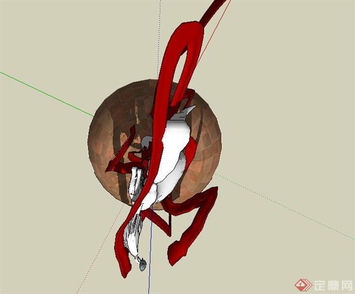 人物雕塑嫦娥奔月设计su模型