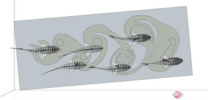 某现代设计鱼群造型雕塑小品su模型(2)
