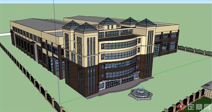 欧式风格多层工业厂房建筑设计su模型[原创]