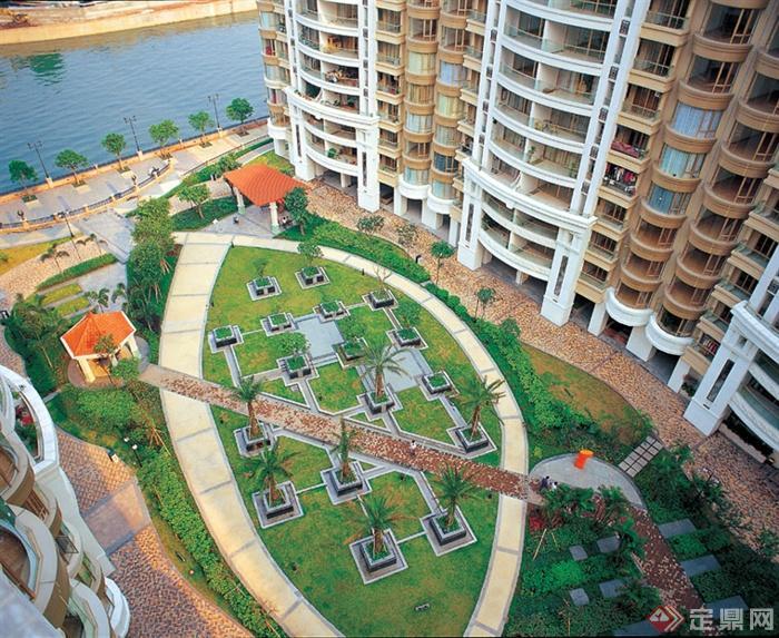 小区中央景观,草坪景观,树池,凉亭