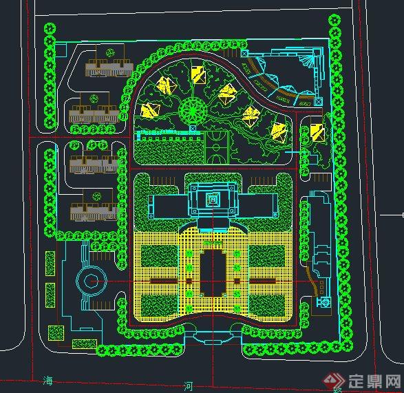 某单位生活区绿化规划设计cad图[原创]