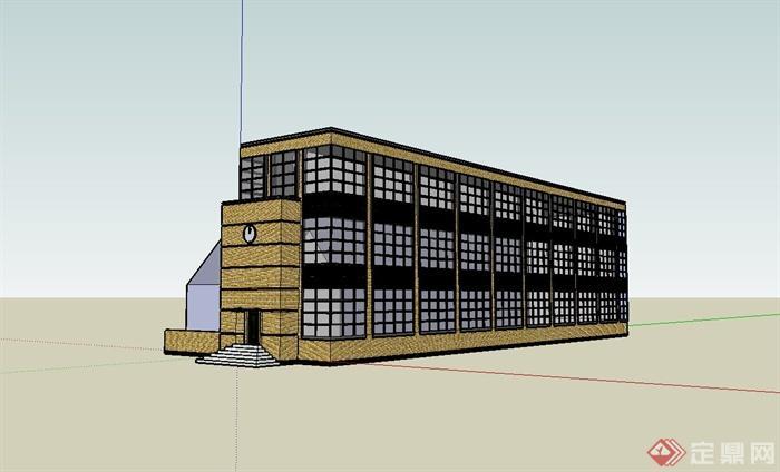 某欧式风格工业厂房建筑设计su模型[原创]