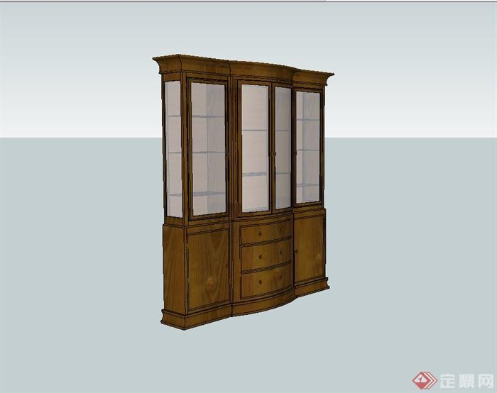 室内木质储物柜子v木质su模型绘制叶图图片