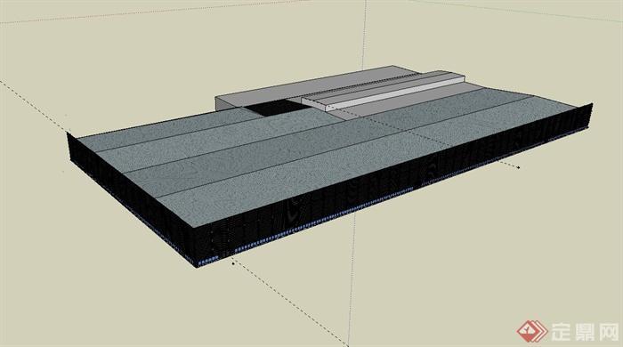 某单层现代工业厂房建筑设计su模型[原创]