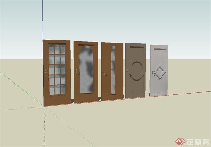 五款室内门设计su模型(1)