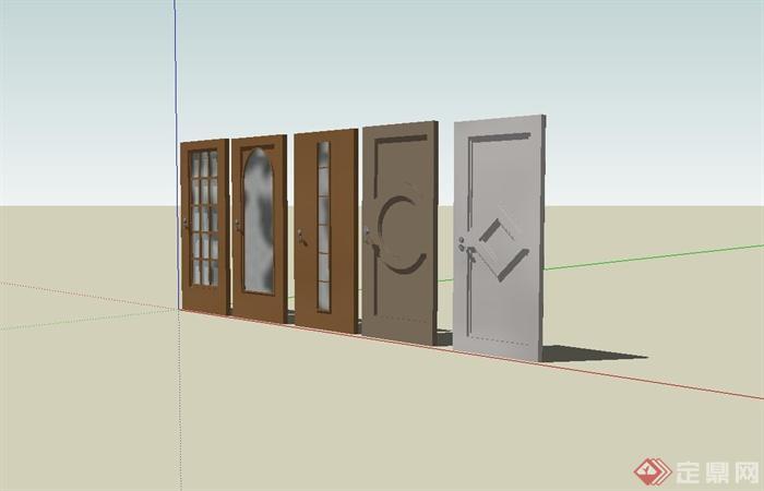 五款室内门设计su模型(2)