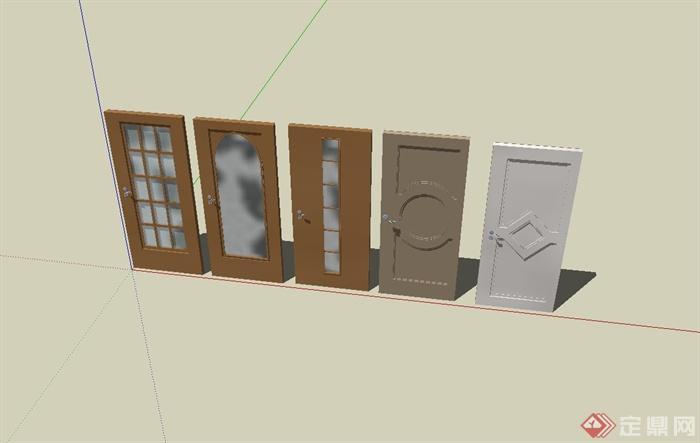 五款室内门设计su模型(3)