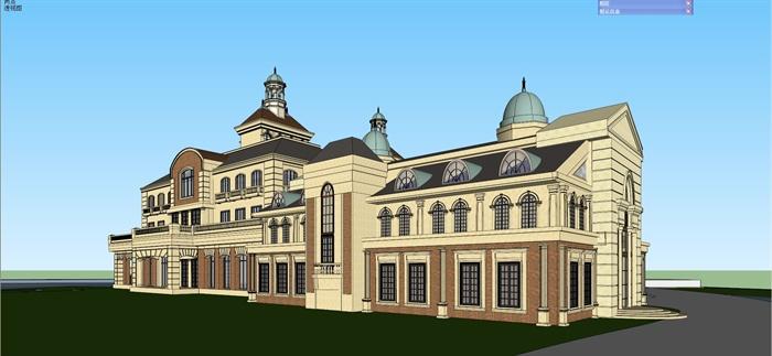 欧式古典酒店建筑设计su模型[原创]