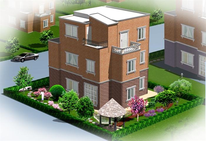 农村别墅自建房效果图 CAD平面图