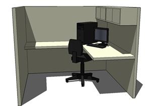 现代办公空间装修设计SU(草图大师)模型