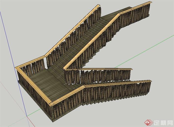 木质折叠楼梯设计su模型