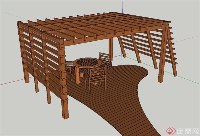 庭院景观节点木质梯形廊架桌椅设计su模型