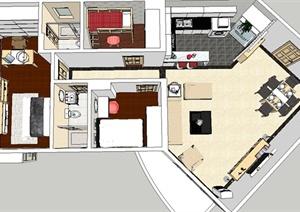 现代三居室家装详图设计SU(草图大师)模型