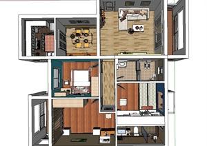 现代三室两厅家装设计SU(草图大师)模型