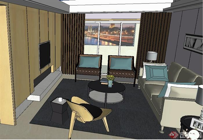 现代单身公寓室内装修设计su模型[原创]