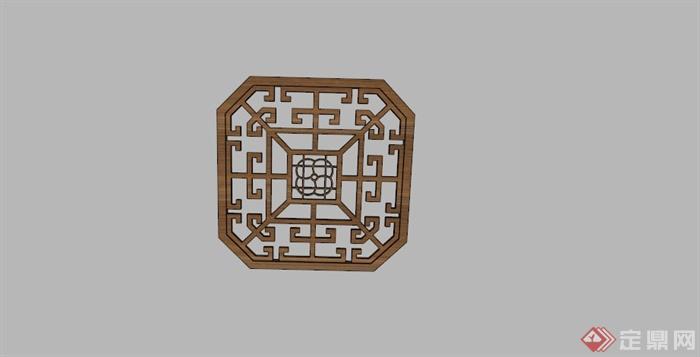 某古典中式木制窗花su模型(1)