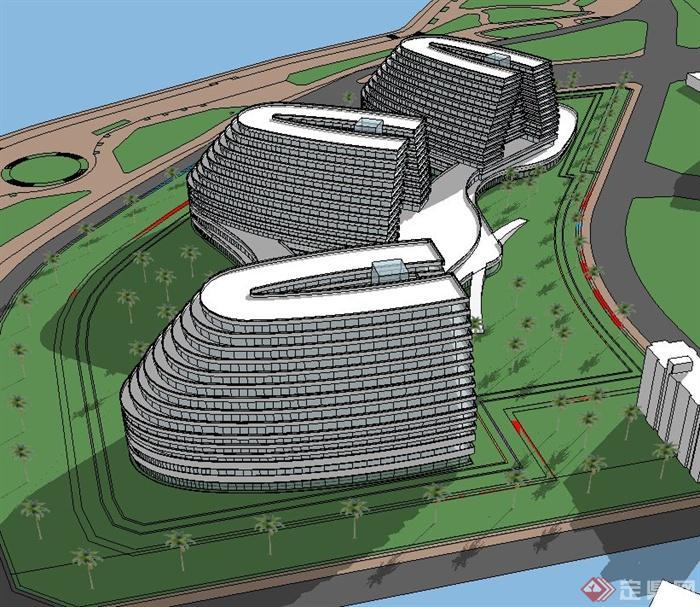 某多层椭圆形滨海酒店建筑设计su模型(2)