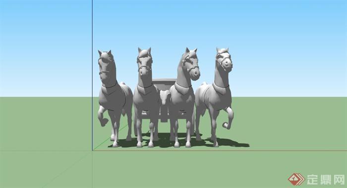某马车造型雕塑小品su模型