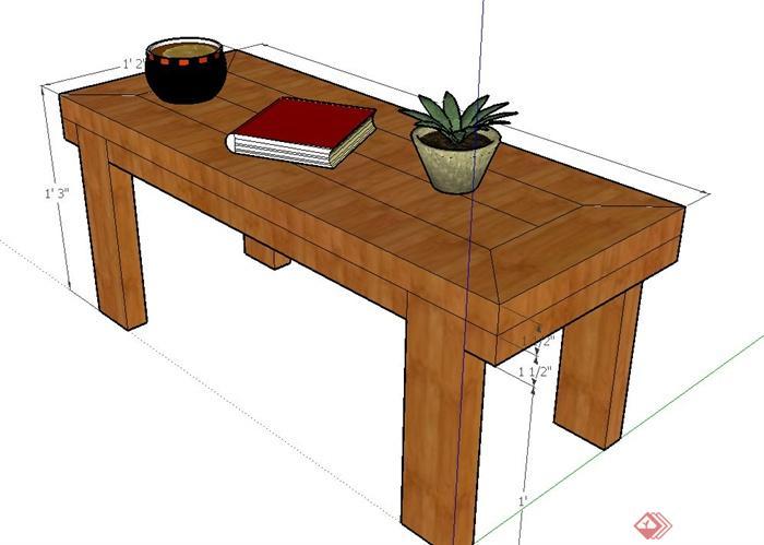 室内木质长方形桌子设计su模型(3)