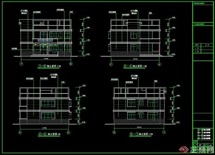 代风格两层农村别墅自建房效果图 CAD施工图