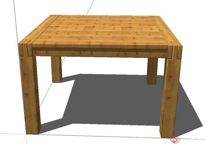 方形木质桌子设计su模型