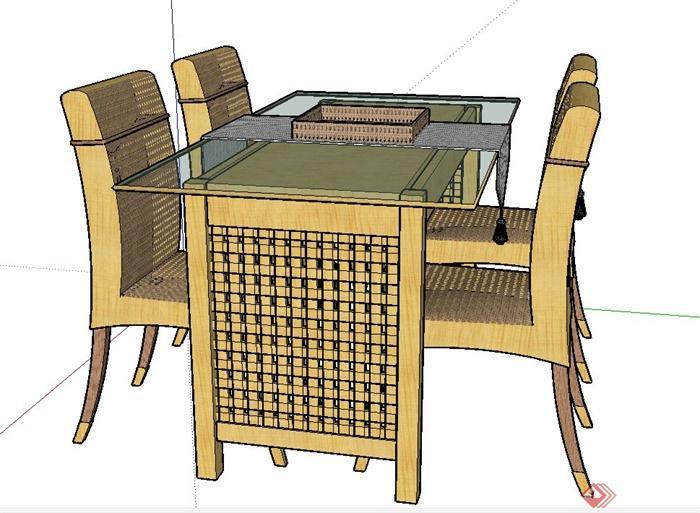 室内长方形玻璃餐桌椅设计su模型