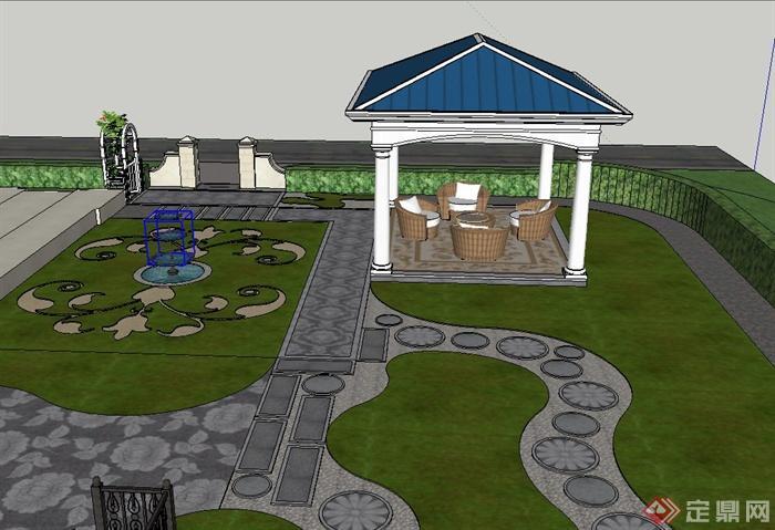 现代某台阶式私家庭院景观设计SU模型