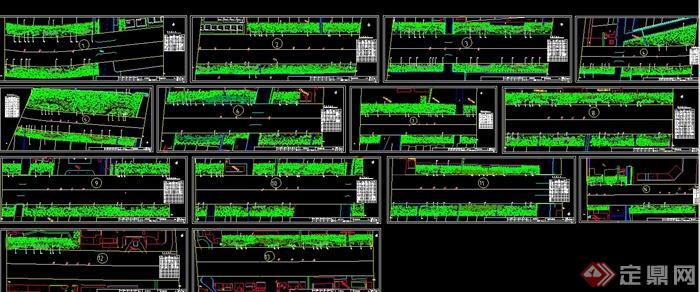 道路绿化带植物种植设计cad平面图[原创]