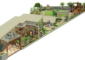 某别墅私家花园庭院景观设计psd效果图