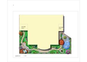 某别墅私家花园庭院景观psd效果图