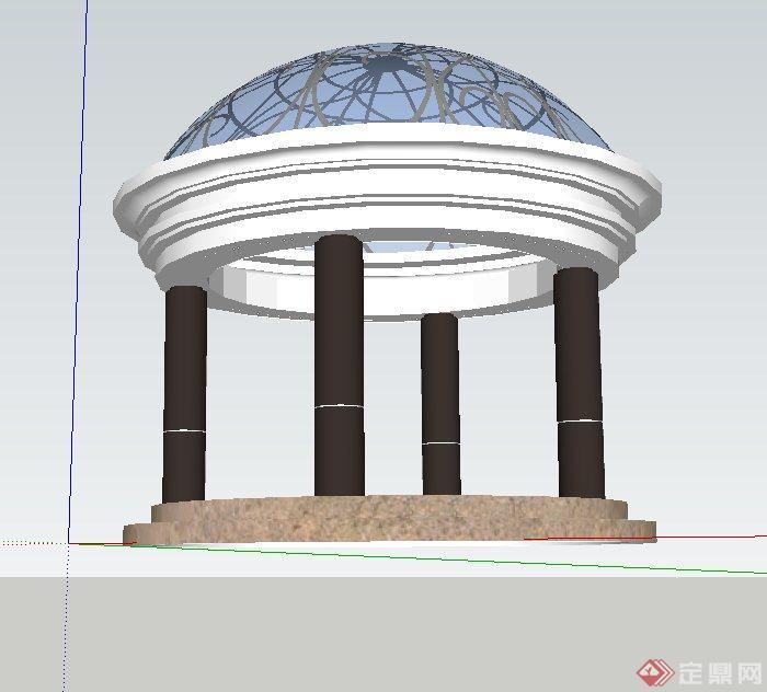 圆形玻璃欧式亭子设计su模型(3)