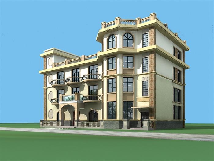欧式四层别墅建筑设计cad施工图(含缩略效果图)[原创