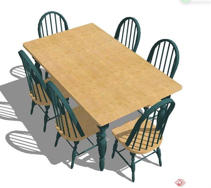 室内木质六人餐桌椅su模型