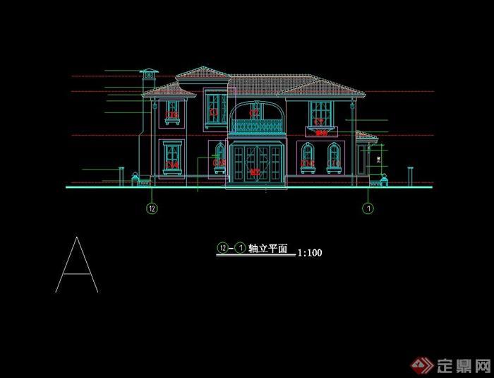 欧式二层自建别墅住宅建筑设计cad施工图[原创]