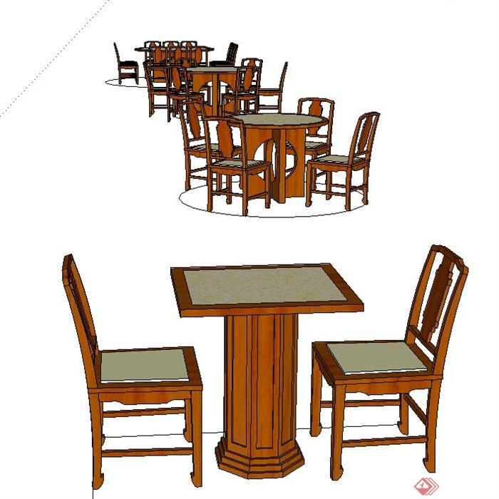 室内多套木质餐桌椅设计su模型