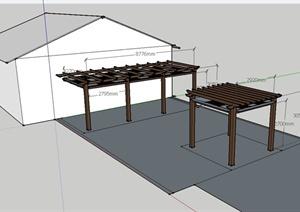 某住宅庭院双层廊架设计SU(草图大师)模型