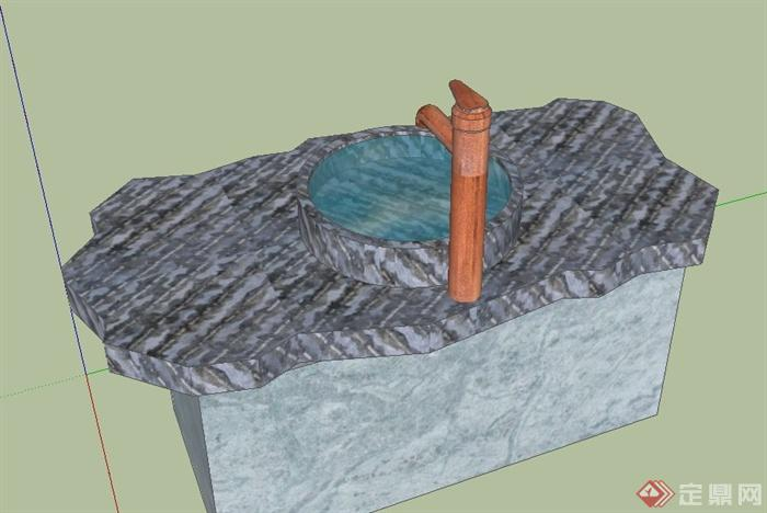 室外石制洗手盆水管小品设计su模型(2)