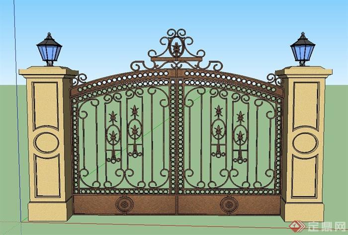 欧式铁艺入口大门设计su模型